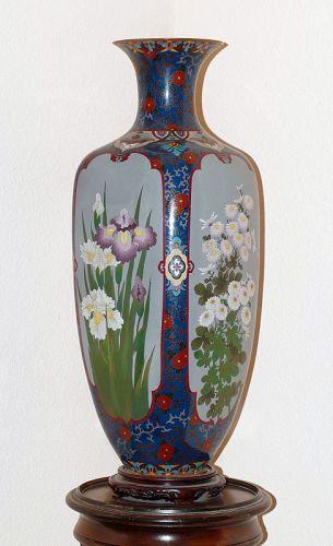 Large Japanese Cloisonne Enamel Vase with 4 Flower Panels