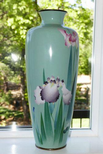 Large Japanese Cloisonne Enamel Vase with Wireless Iris - Gonda