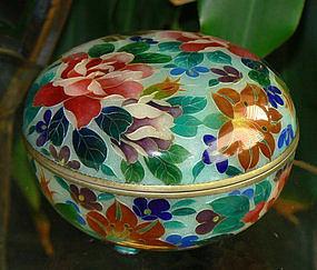 Rare Japanese Cloisonne Plique Lidded Bowl