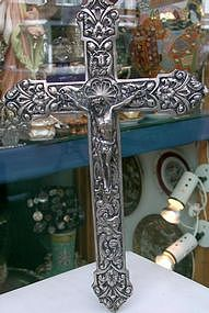 Silver hand chiseled Crucifix