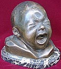 Bronze Bust of Crying Baby