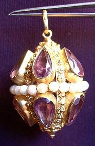 Gorgeous Amethysts & Pearls Pendant