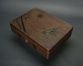 Japanese Makie Tiger Basket Base Bunko Box