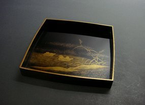 Japanese Gold Makie Tray with Mandarin-ducks