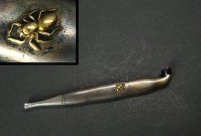 Japanese Silver Kiseru with Gold Spider