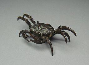 Japanese Bronze Statue Crab