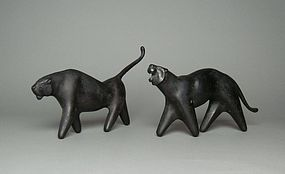 Pair of Japanese Bronze Tigers