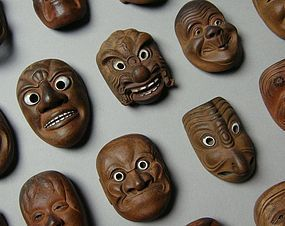 Japanese Ceramic Mask Netsuke 20pcs Set