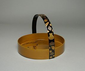 Japanese Lacquer Tray with Makie Handle
