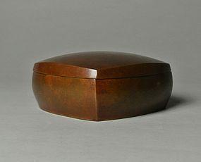 Japanese Bronze Ash Box by Yamamoto Kozan