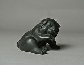 Japanese Bronze Statue Puppy