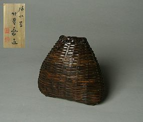 Japanese Bamboo Flower Basket by Chikuunsai II