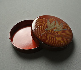 Japanese Lacquer Incense Container, Flying Fishes