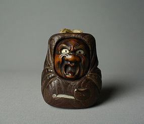 Japanese Wood-carving Daruma Tonkotsu