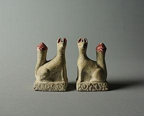 Japanese Clay Inari Fox Figures