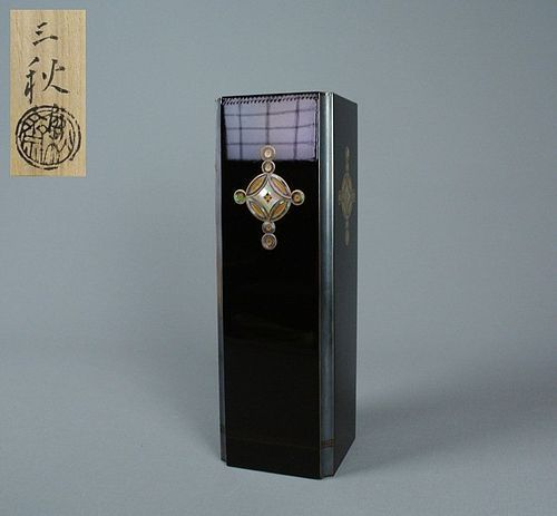 Japanese Lacquered Bronze Vase with Raden by Shimano Sanshu