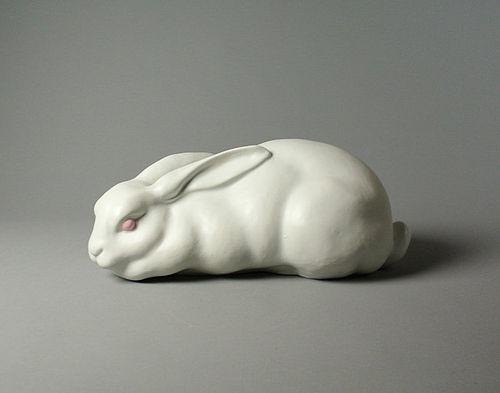 Japanese Ceramic Rabbit Okimono