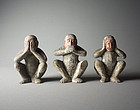 Japanese Wood Statue Three Wise Monkeys