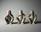 Japanese Wood Statue Three Wise Monkeys