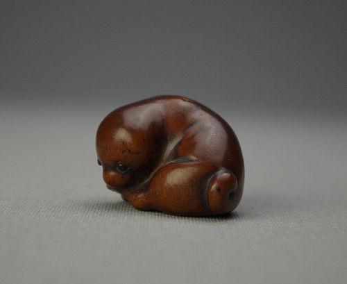 Japanese Wood Netsuke Puppy