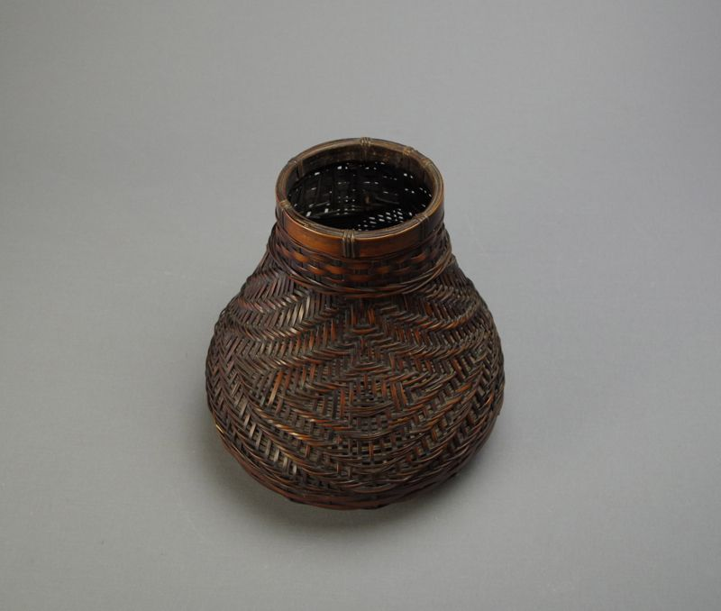 Antique Japanese Bamboo Flower Basket