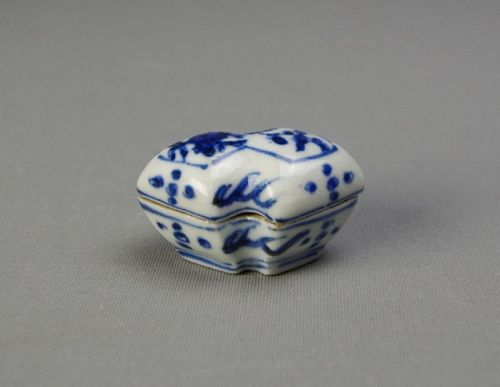 Antique Blue & White Incense Container
