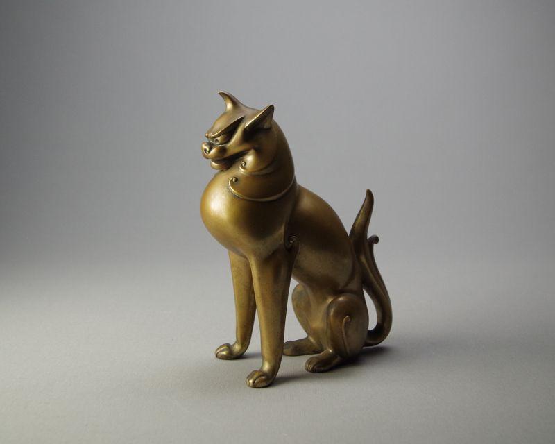 Japanese Bronze Lion Okimono