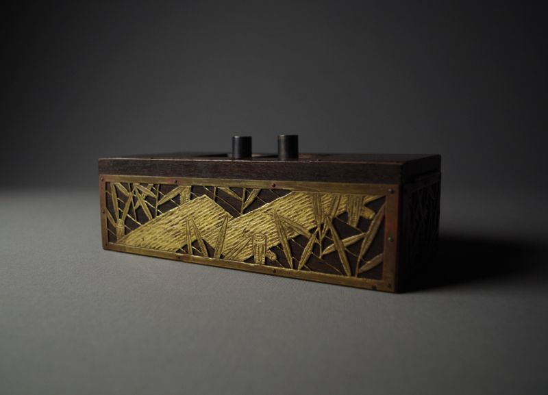 Japanese Wooden Box with Metal-carving by Okabe Tatsuo