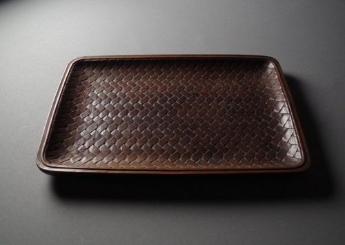 Japanese Wood Carving Basket-shaped Tray
