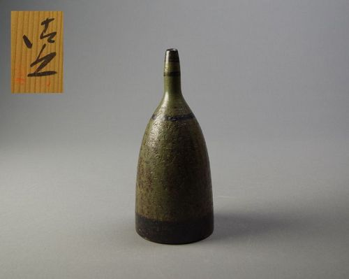Japanese Green Glazed Bottle by Kato Kiyoyuki