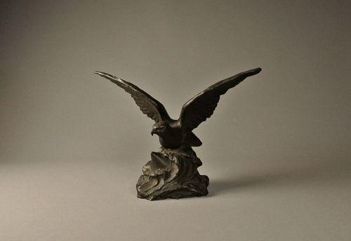 Japanese Bronze Hawk Statue by Shinkai Taketaro