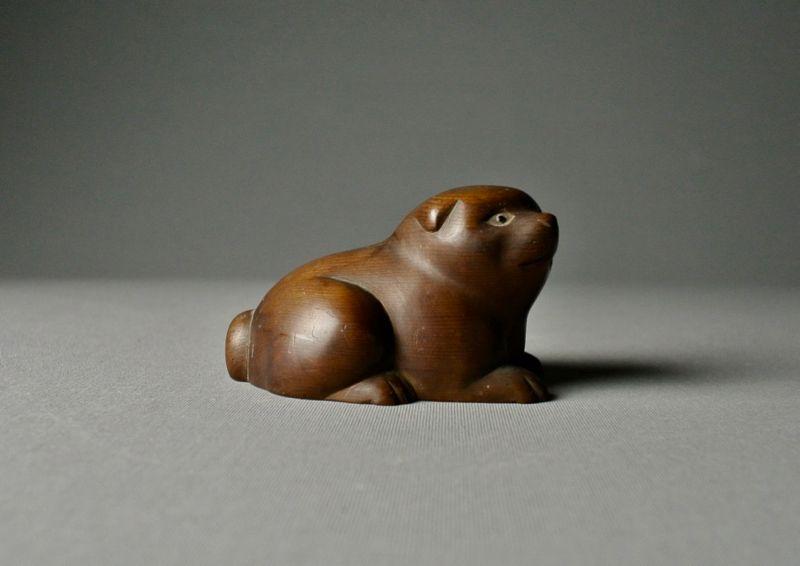 Japanese Wood Carving Puppy by Izumi Sukeyuki