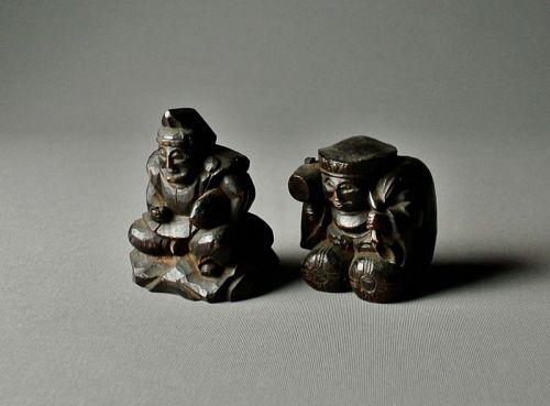 Japanese Wood Statue Ebisu & Daikoku