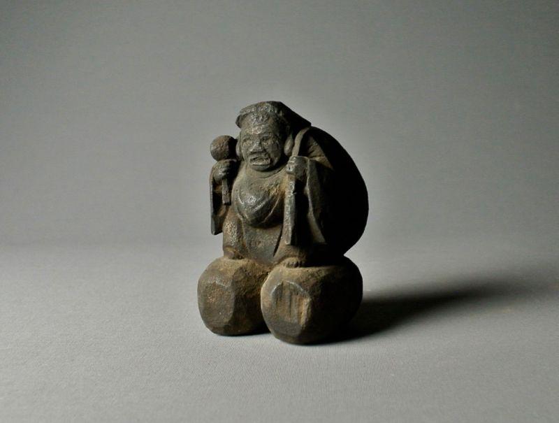 Japanese Wood Carving Statue Daikoku
