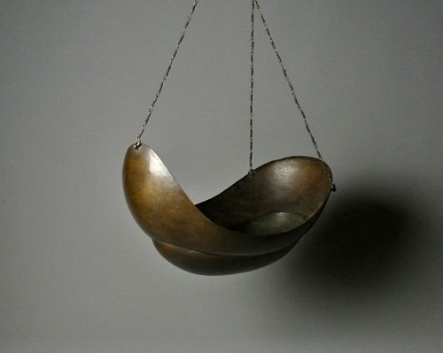 Japanese Bronze Boat-shaped Hanging Vase