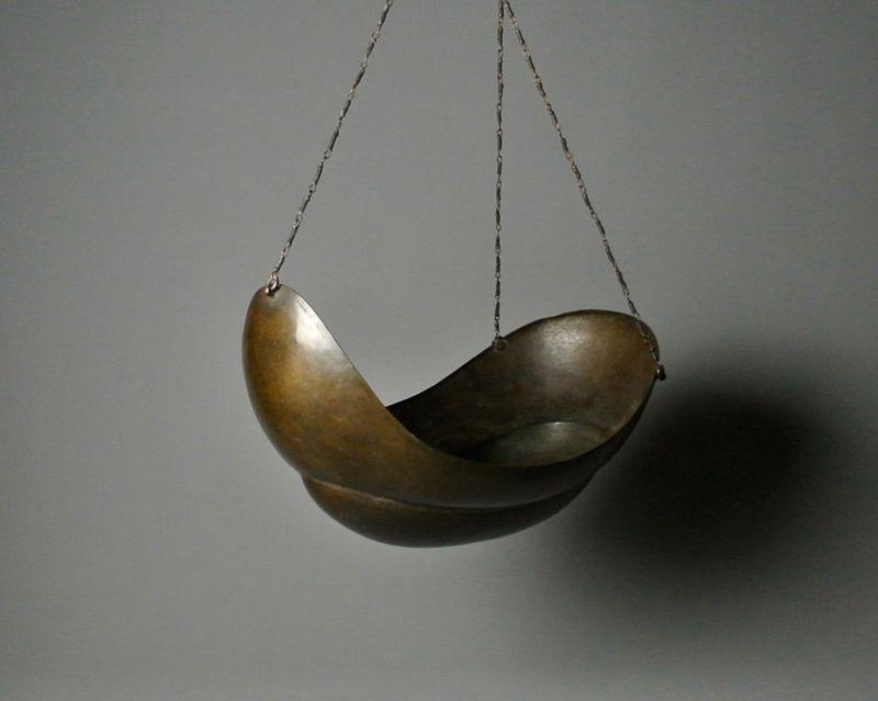 Japanese Bronze Boat-shaped Hanging Vase