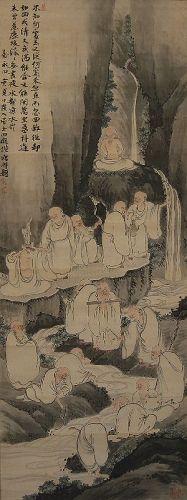 Japanese Scroll Painting Jyuroku Rakan by Chokunyu