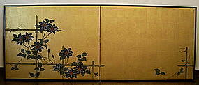 Japanese Gold 2-panel Screen Painting, Tessen