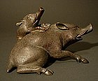 Japanese Bronze Boar Incense Burner