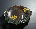 Japanese Wooden Lacquer Takamorie Tray with Iris