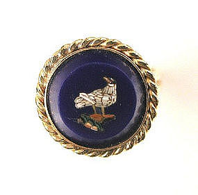 Antique Micro Mosaic Ring -- Dove in Cobalt