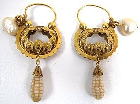 Stunning Spanish Colonial Filigree and Pearl Earrings