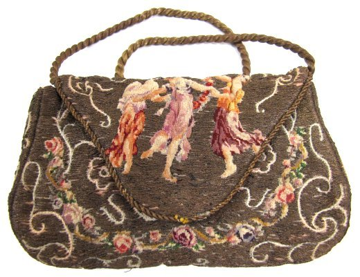 Superb Petit Point and Embroidered Purse, Three Graces