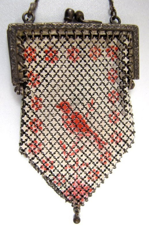 Rare Enamel Mesh Purse with Bird for Doll or Child