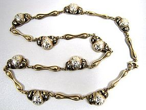 Stunning 14k and Enamel Victorian Transitional Necklace