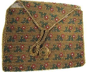 Interesting 18th C Beaded Coin Purse, Flowers