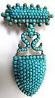 Superb Mid-19th C Pave Turquoise Pendant Brooch, Locket