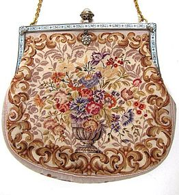 Fine Petit Point Purse, Bowl of Flowers