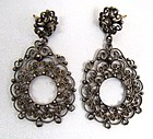 Pretty Silver Filigree Pendant Earrings