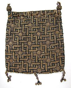 Rare Purse in Metallic Thread, Early 1600's